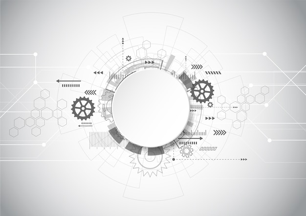 Abstrakter technologie-grauer geometrischer hintergrund Premium Vektoren