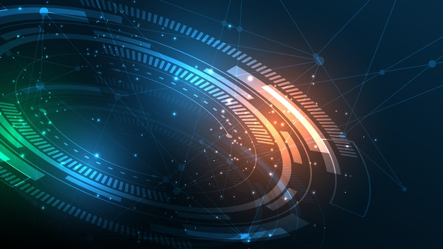 Abstrakter technologiehintergrund hi-tech-kommunikationskonzept-innovationshintergrund Premium Vektoren