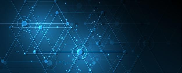 Abstrakter technologiehintergrund hi-tech-kommunikationskonzeptinnovationshintergrundvektorillustration Premium Vektoren