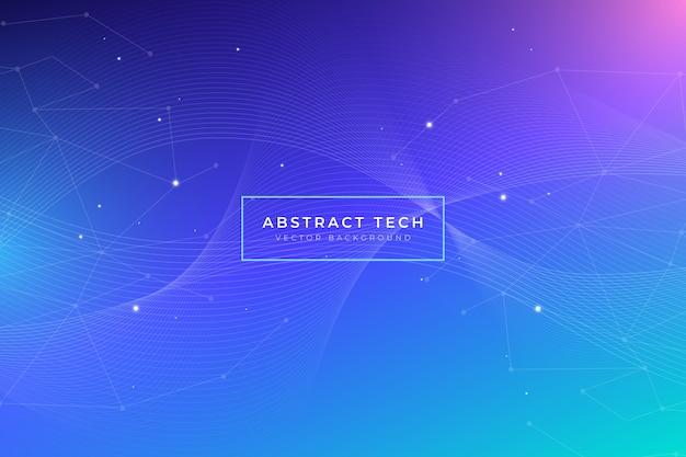 Abstrakter technologiehintergrund mit glänzenden punkten Kostenlosen Vektoren