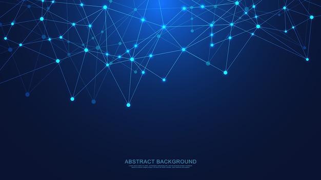 Abstrakter technologiehintergrund mit verbindungspunkten und linien. digitale technologie der globalen netzwerkverbindung und kommunikation. Premium Vektoren