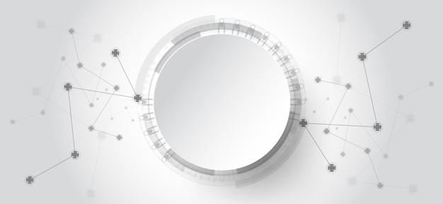 Abstrakter technologiehintergrund mit verschiedenen technologieelementen. Premium Vektoren