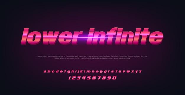 Abstrakter technologieraumguß und -alphabet mit unterem endlosem buchstaben Premium Vektoren