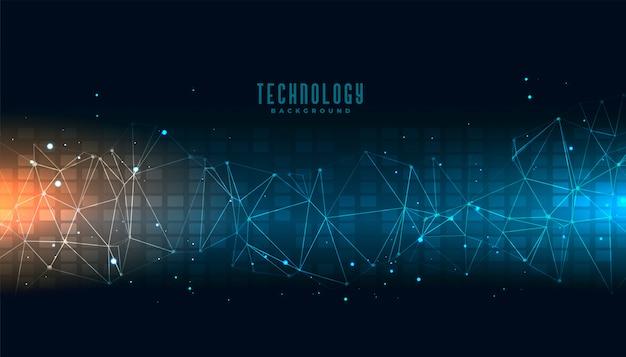 Abstrakter technologiewissenschaftshintergrund mit verbindungslinien Kostenlosen Vektoren