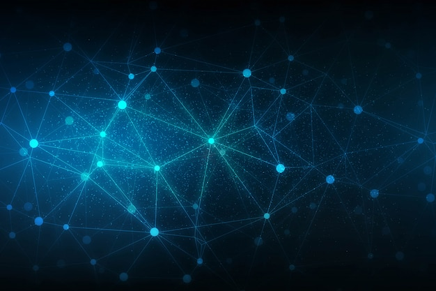 Abstrakter technologiewissenschaftshintergrund mit verbindungspolygonlinien design Kostenlosen Vektoren