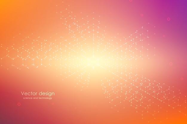 Abstrakter technologischer und wissenschaftlicher hintergrund mit hexagonen Premium Vektoren