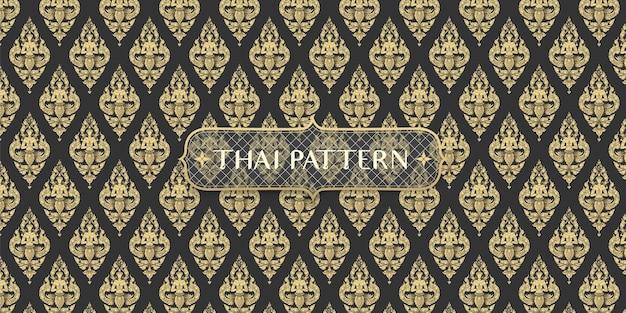 Abstrakter traditioneller hand gezeichneter schwarzweiss-thailändischer winkelmusterhintergrund Premium Vektoren