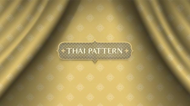Abstrakter traditioneller thailändischer blumenhintergrund auf goldenem wellenvorhang. Premium Vektoren