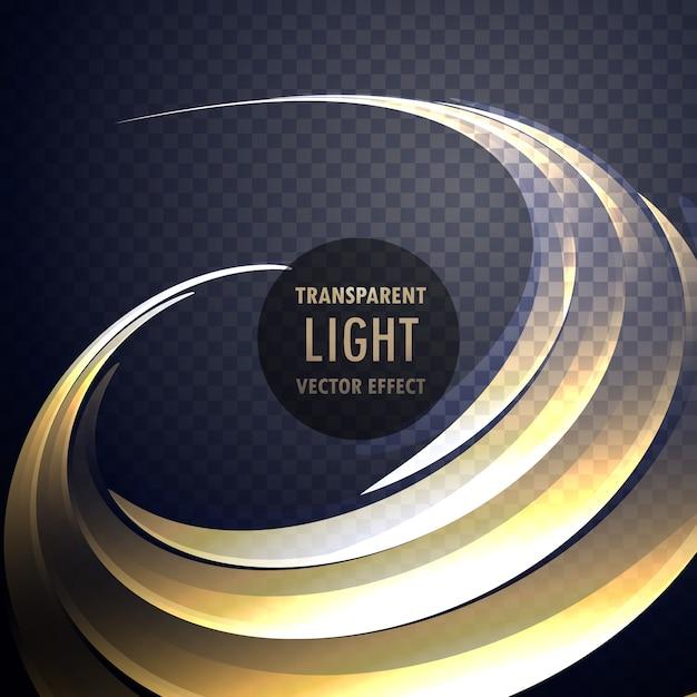 Abstrakter transparenter Lichteffekt-Wirbel mit Neon-Gold-Kurven Kostenlose Vektoren