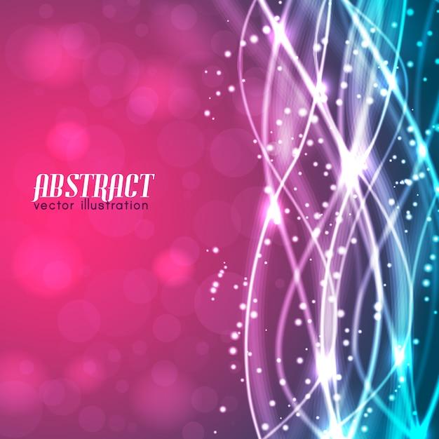 Abstrakter verschwommener rosa und blauer hintergrund mit text und glühenden weißen fäden und funkelt Kostenlosen Vektoren