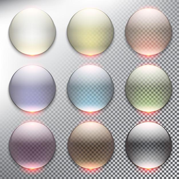 Abstrakter webknopfsatz 9er-kreis. isoliert Premium Vektoren