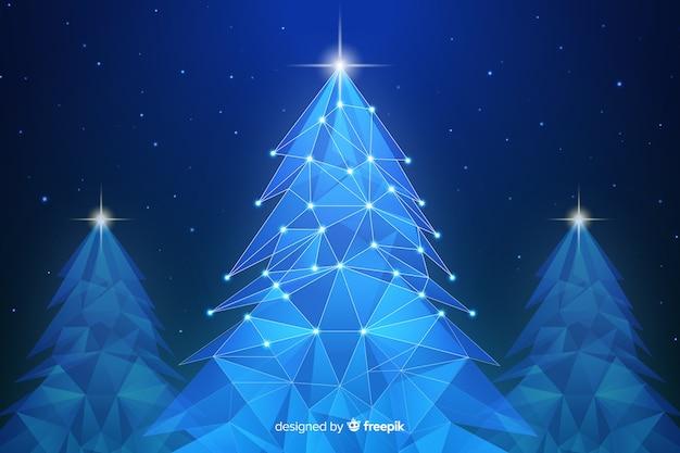 Abstrakter weihnachtsbaum mit lichtern in den blauen schatten Kostenlosen Vektoren