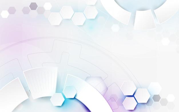Abstrakter weißer geometrischer technologiehintergrund Premium Vektoren