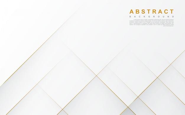 Abstrakter weißer hintergrund mit goldlinie Premium Vektoren