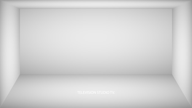 Abstrakter weißer leerer raum, nische mit weißer wand, boden, decke, dunkle seite ohne texturen, farblose illustration der kastenoberansicht. Premium Vektoren