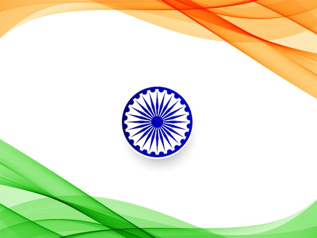 Abstrakter wellenförmiger hintergrund der indischen flagge Kostenlosen Vektoren