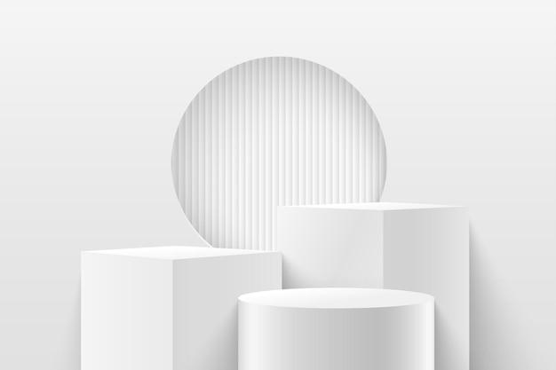 Abstrakter würfel und runde anzeige für produkt. 3d-rendering geometrische form weiße und graue farbe. Premium Vektoren