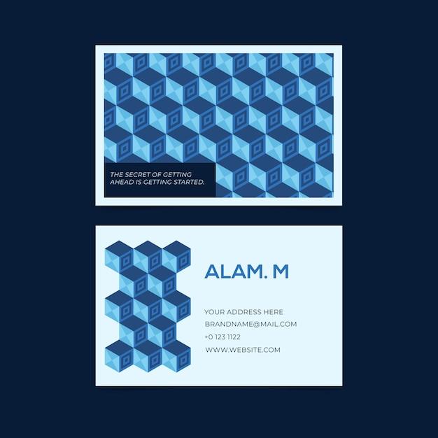 Abstraktes blaues design für visitenkarteschablone Kostenlosen Vektoren