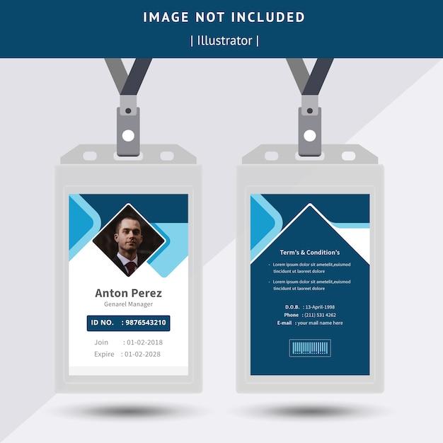 Abstraktes blaues identifikations-karten-design Premium Vektoren