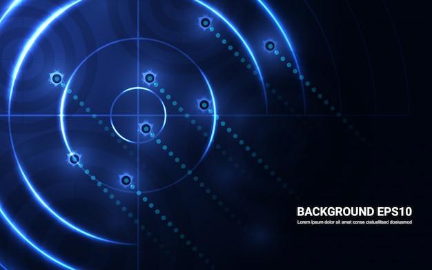 Abstraktes blaues ziel, schießstand auf schwarzem hintergrund. shooting target erfolg lösung Premium Vektoren