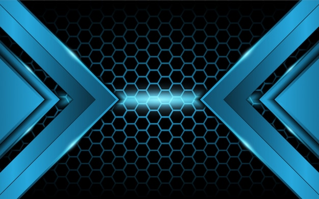 Abstraktes blaulicht auf hexagonhintergrund Premium Vektoren