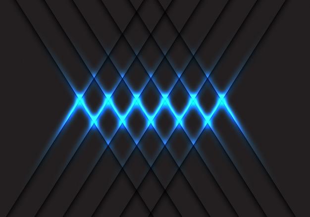Abstraktes blaulichtkreuzmuster auf technologiehintergrund-vektorillustration des grauen designs moderne futuristische. Premium Vektoren