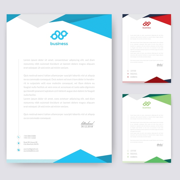 Abstraktes briefkopf-design Premium Vektoren