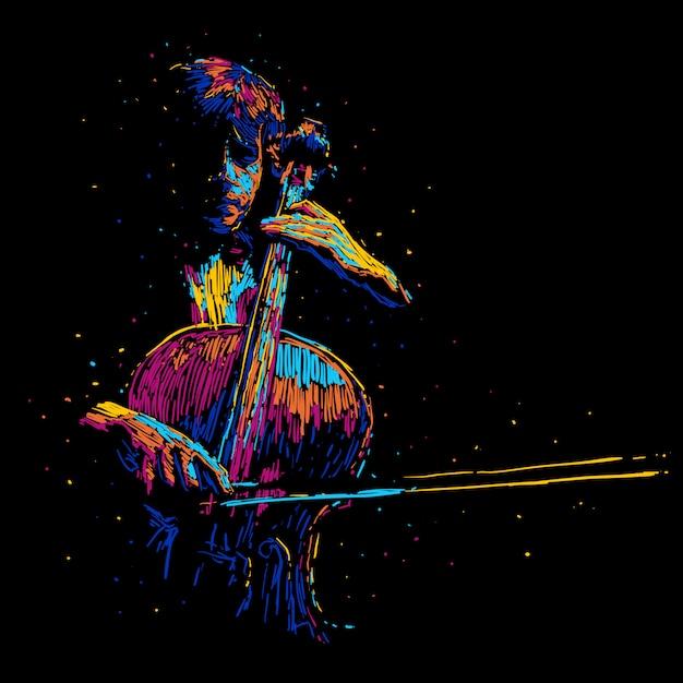 Abstraktes cellospieler-vektorillustrations-musikplakat Premium Vektoren