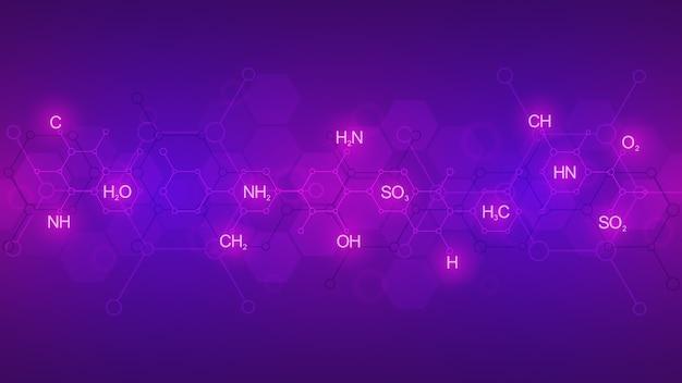 Abstraktes chemisches muster auf lila hintergrund mit chemischen formeln und molekularen strukturen. vorlage mit konzept und idee für wissenschaft und innovationstechnologie. Premium Vektoren