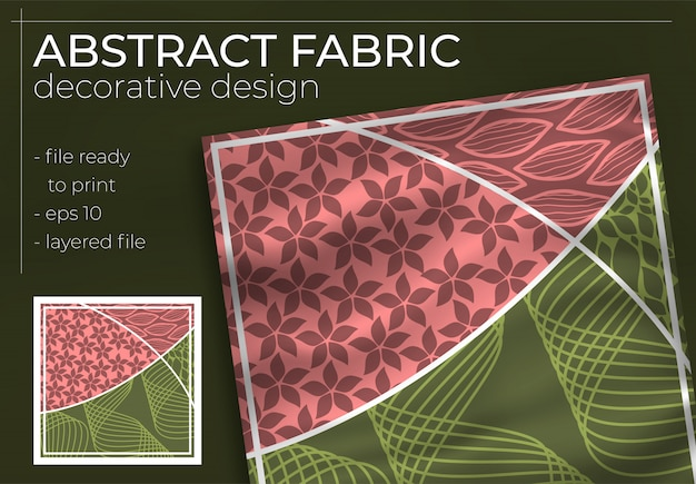 Abstraktes dekoratives stoffdesign mit realistischem modell für die druckproduktion. hijab, schal, kissen usw. Premium Vektoren