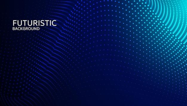 Abstraktes digitales wellenteilchen auf blauem hintergrund Premium Vektoren