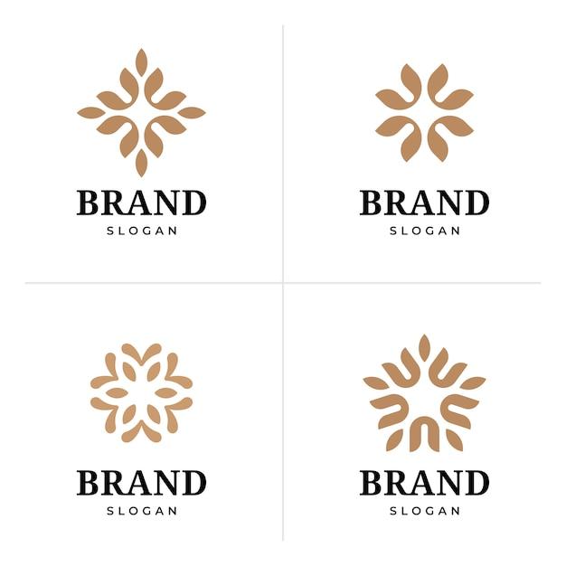 Abstraktes elegantes blumen-logo-design Premium Vektoren