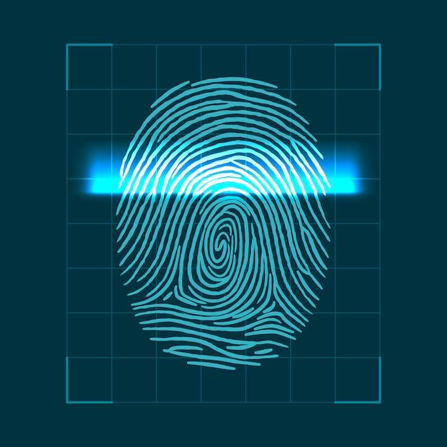 Abstraktes geometrisches konzept zum scannen von fingerabdrücken. überprüfung der persönlichen id Premium Vektoren