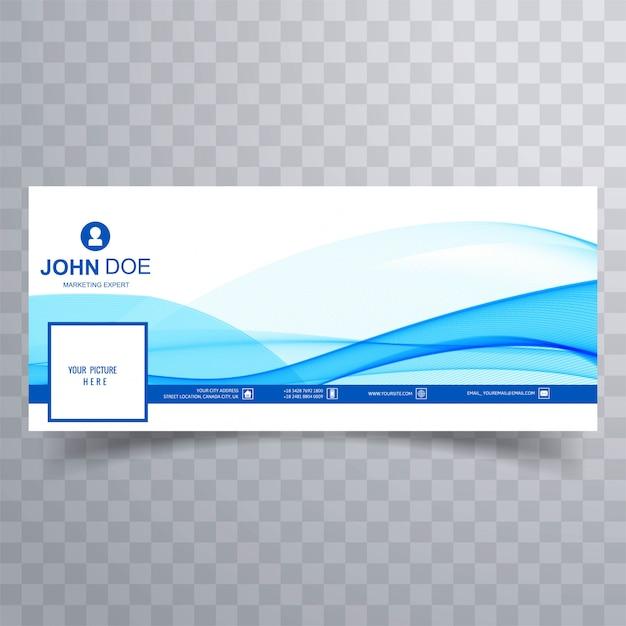 Abstraktes geschäftswellen-facebook-banner für zeitachse Kostenlosen Vektoren