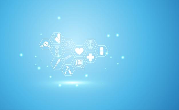Abstraktes gesundheitswesen der medizinischen wissenschaft Premium Vektoren