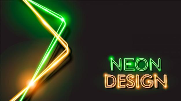 Abstraktes glühendes schwarzes hintergrund-neondesign Premium Vektoren