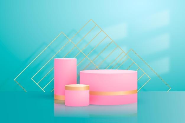 Abstraktes goldenes geometrisches podium mit formen Kostenlosen Vektoren