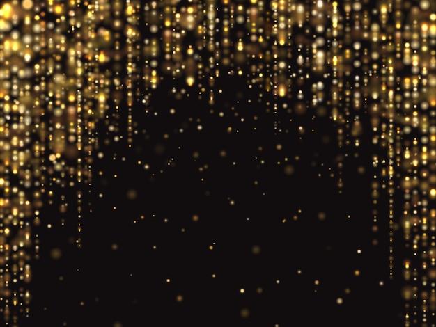 Abstraktes goldfunkeln beleuchtet hintergrund mit fallendem scheinstaub. luxuriöse textur Premium Vektoren