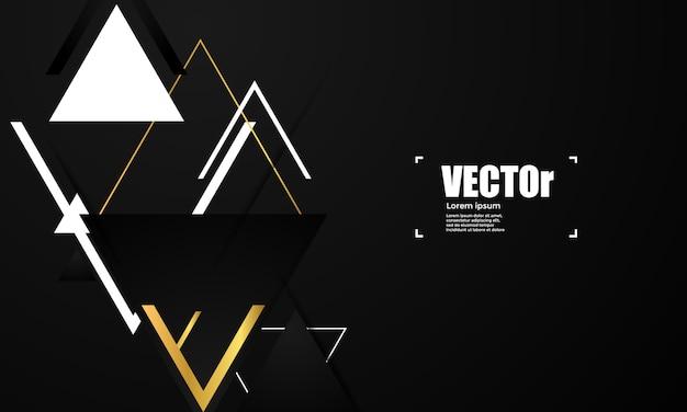 Abstraktes goldgeometrischer vektorhintergrund mit dreiecken. Premium Vektoren