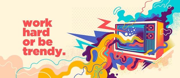 Abstraktes graffiti-design mit retro-tv. Premium Vektoren