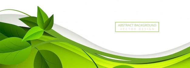 Abstraktes grün lässt wellenfahnenhintergrund Kostenlosen Vektoren