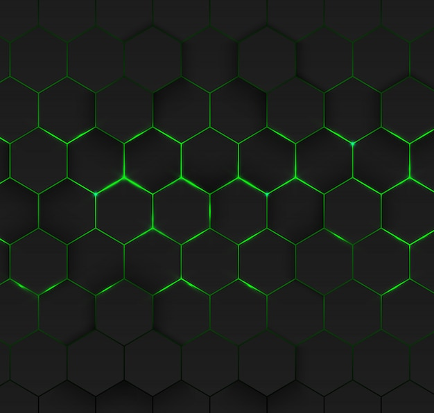 Abstraktes grünes sechseckiges. futuristische technologie Premium Vektoren