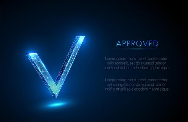 Abstraktes häkchen der genehmigung Premium Vektoren