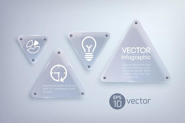 Abstraktes infografik-designkonzept mit glaslichtdreiecken und geschäftsikonen Kostenlosen Vektoren