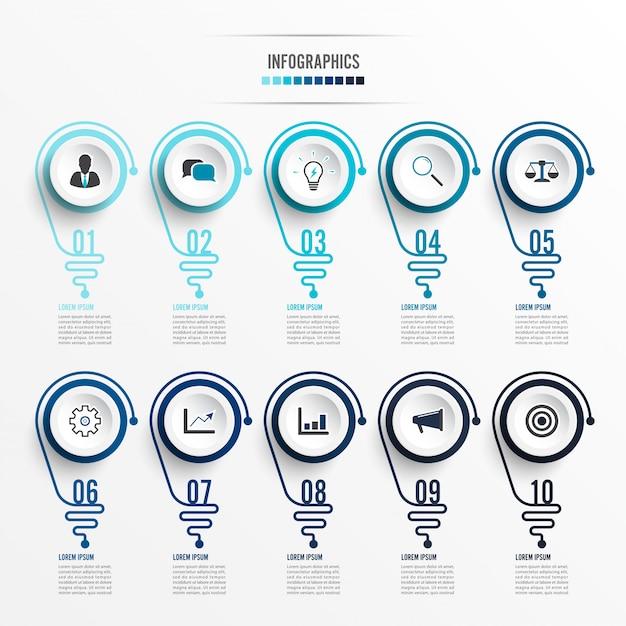 Abstraktes infographic mit glühlampe. infografiken für business-präsentationen oder informationsbanner 10 optionen. Premium Vektoren
