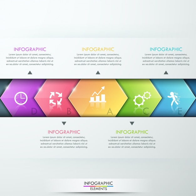 Abstraktes infographics schablonendesign mit glaspfeilen Premium Vektoren