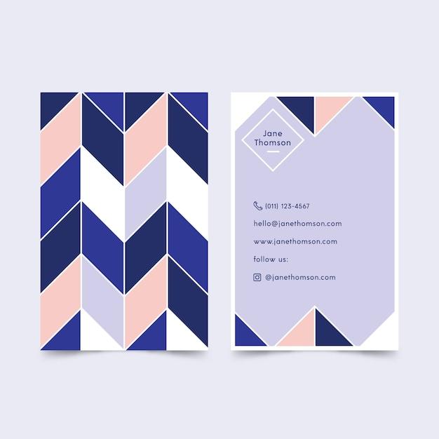 Abstraktes klassisches blaues visitenkarteschablonendesign Kostenlosen Vektoren