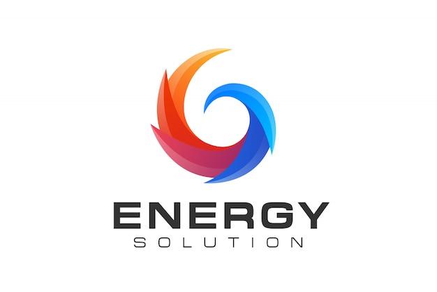 Abstraktes kreis-sonnenenergie- und logo der erneuerbaren technologie Premium Vektoren