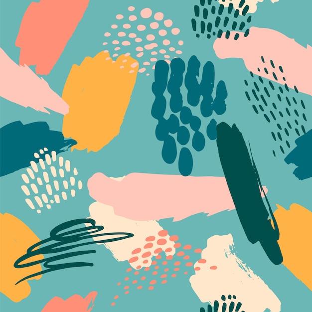 Abstraktes künstlerisches nahtloses muster mit modischen hand gezeichneten beschaffenheiten Premium Vektoren