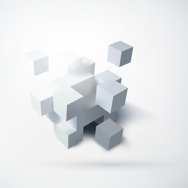 Abstraktes leeres geometrisches entwurfskonzept mit gruppe von weißen würfeln 3d auf licht lokalisiert Kostenlosen Vektoren